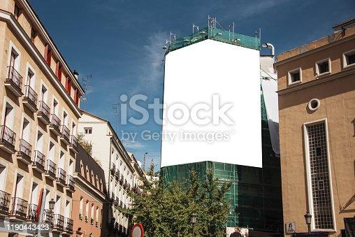 158172107 istock photo Blank billboard on building 1190443423