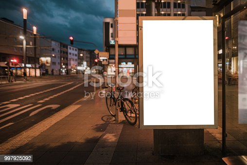 istock Blank billboard on bus station 997925092
