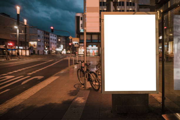 Blank billboard on bus station stock photo