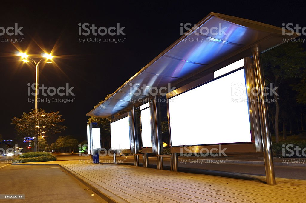 Blank Billboard on Bus Stop stock photo