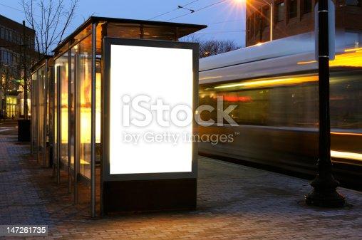 istock Blank Billboard on Bus Stop 147261735
