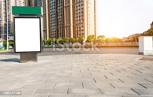 693455040 istock photo Blank billboard on city street side 1085147166