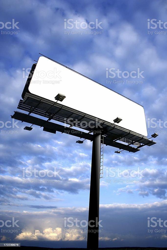 Blank Billboard On Cloudy Sky royalty-free stock photo