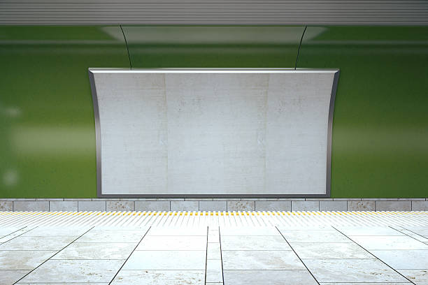 blank billboard on green wall in empty subway, mock up - billboard train station bildbanksfoton och bilder