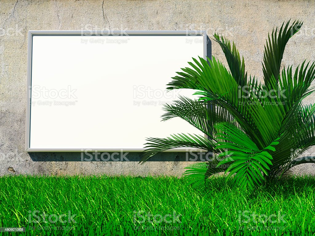 Blank billboard on grunge wall stock photo