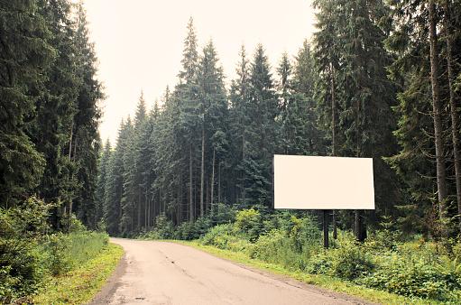 Blank billboard on highway