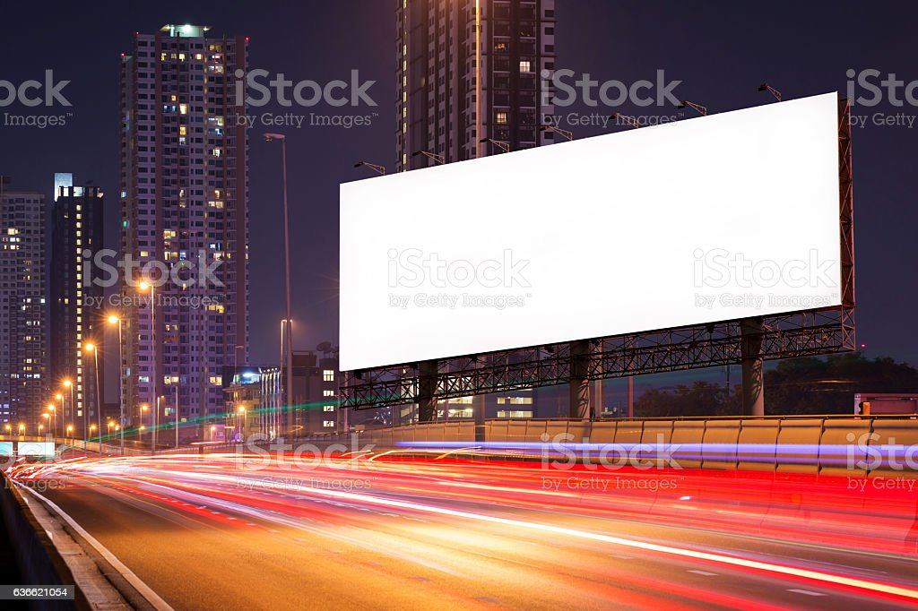Blank billboard on light trails, street and urban in night - foto stock