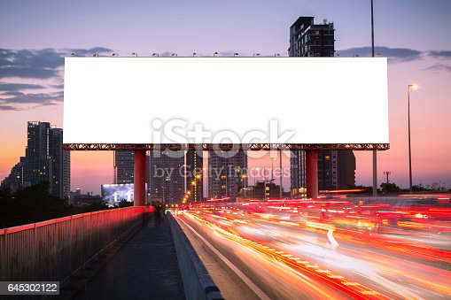 istock Blank billboard on light trails, street and urban 645302122