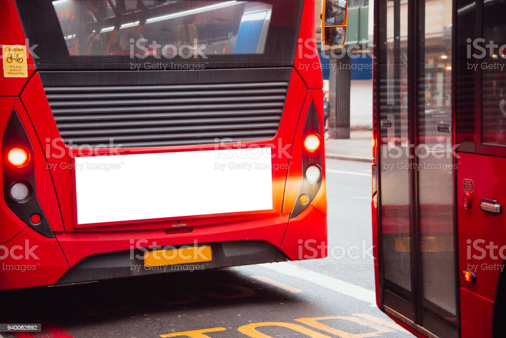 Blank billboard on London bus stock photo