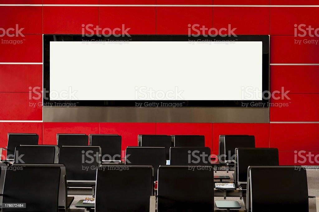 Blank billboard on modern red wall royalty-free stock photo