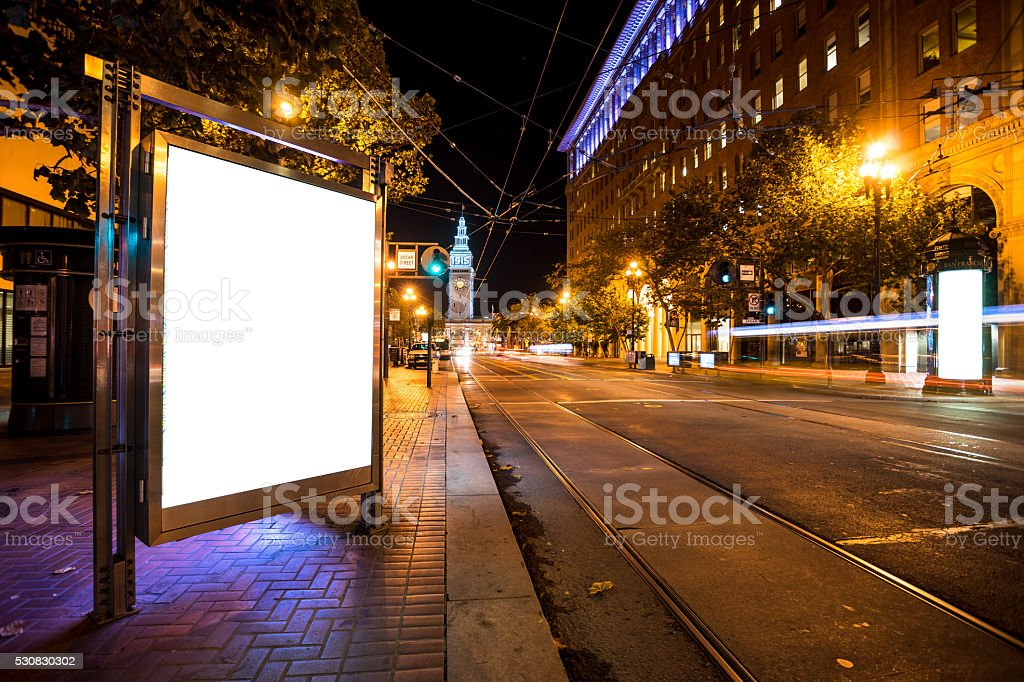 blank billboard on road with tramway in san francisco stock photo