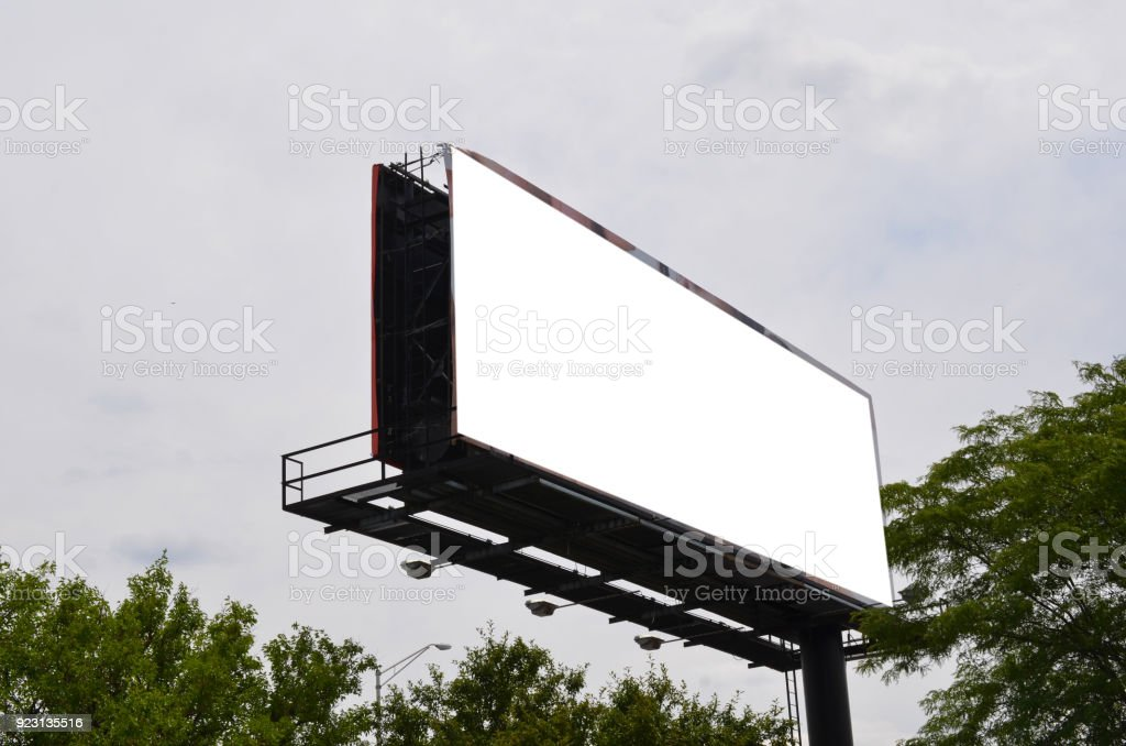 Blank billboard on sky stock photo