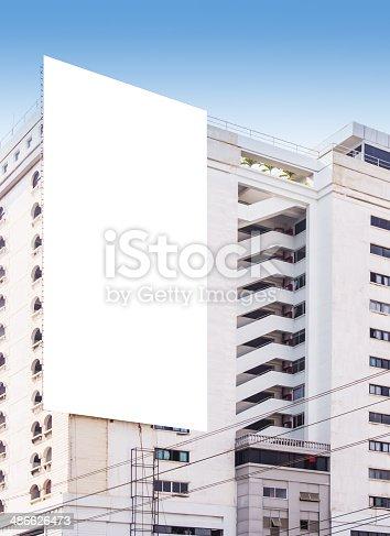 istock Blank billboard on the building 486626473