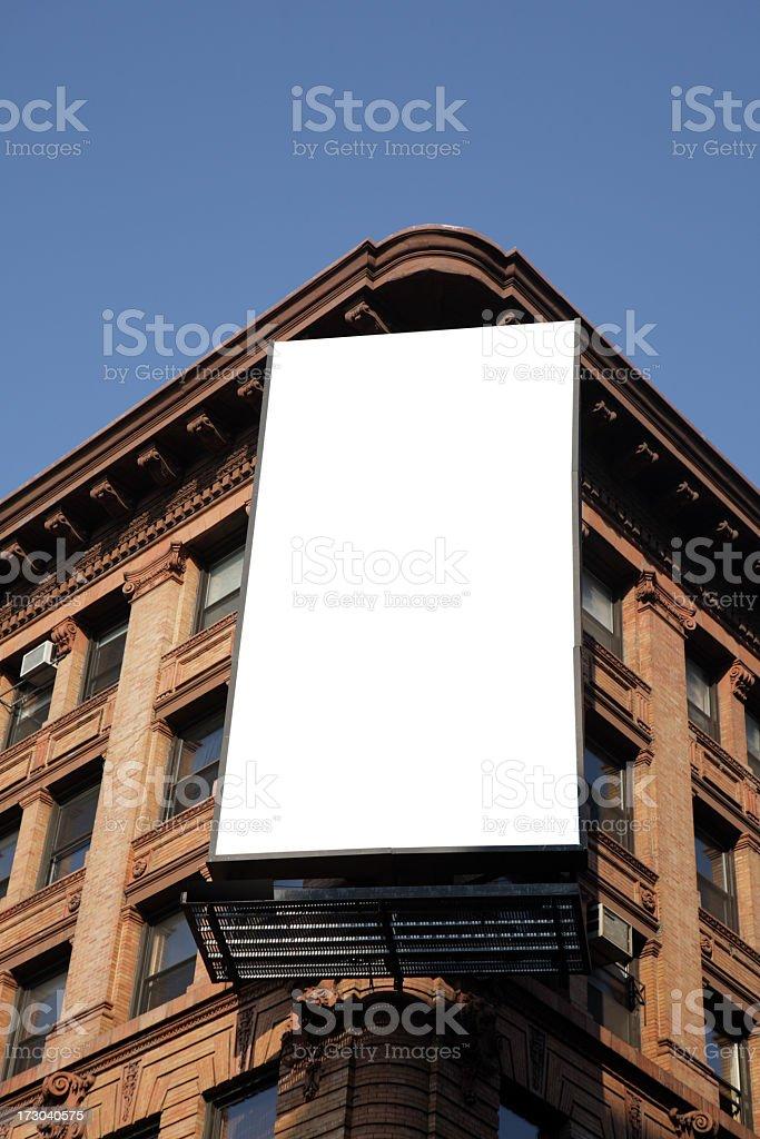 Blank billboard on the corner of an apartment block stock photo