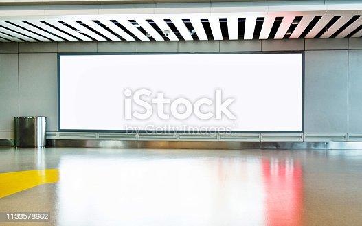 Blank billboard on the corridor of airport.