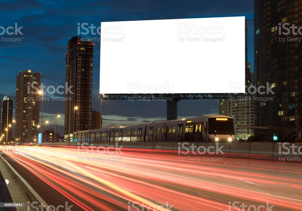 Blank billboard on the highway - foto stock