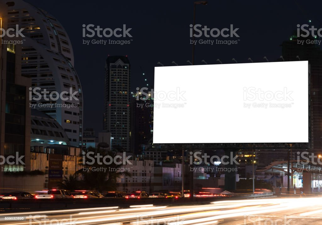 Blank billboard on the highway stock photo