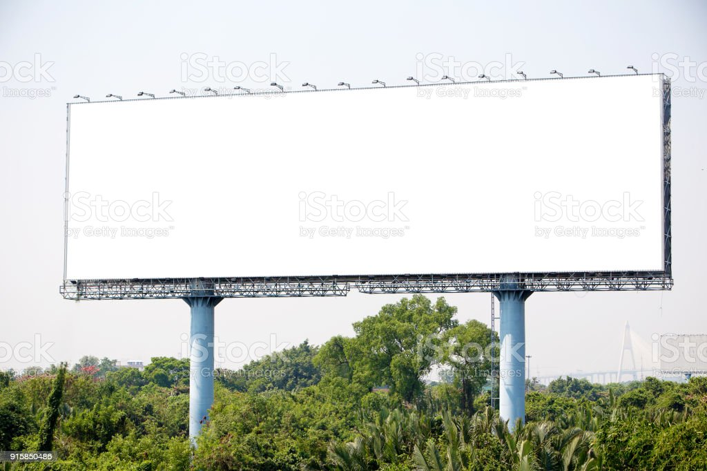 blank billboard on the sideway in the park. image for copy space stock photo