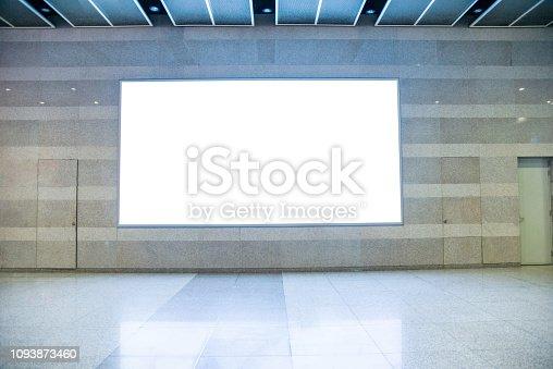 istock Blank billboard on the wall of pedestrian walkway 1093873460