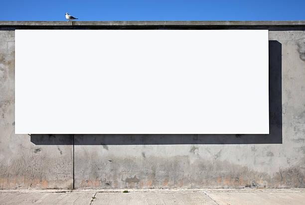 Blank Billboard On Wall stock photo