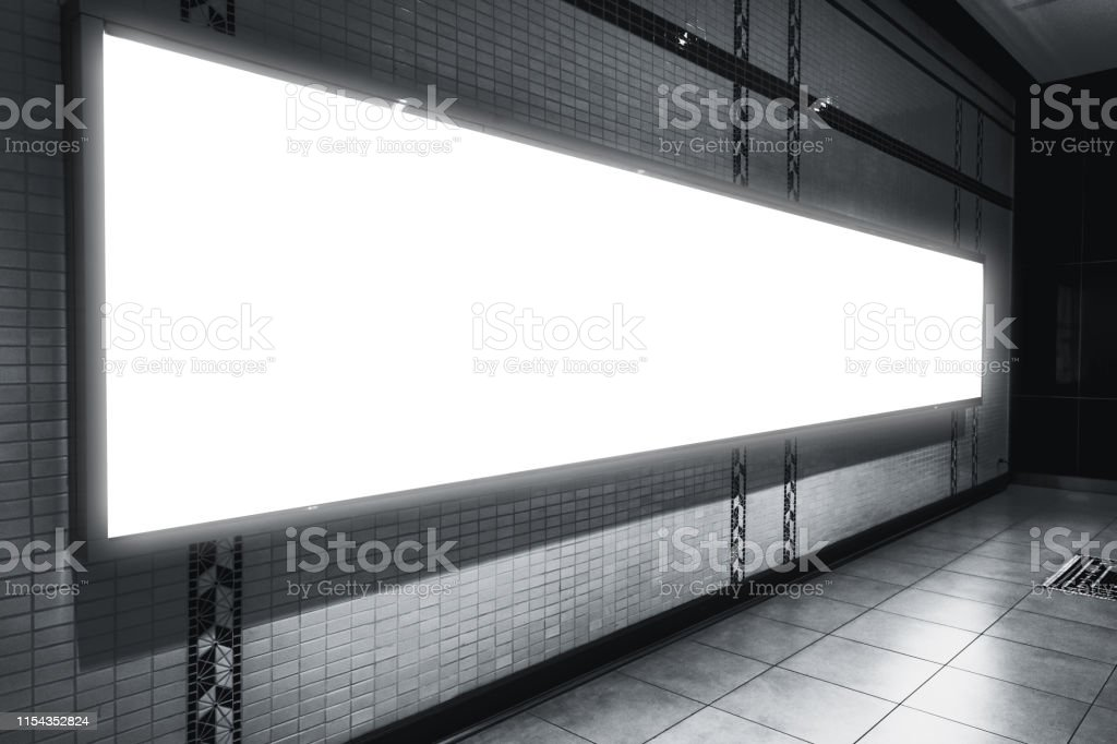 Blank Billboard or Advertising space at walking street night with...