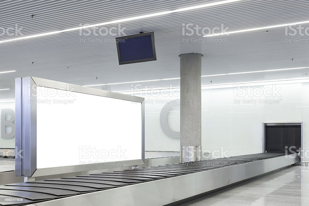 Blank billboard or poster on airport stock photo