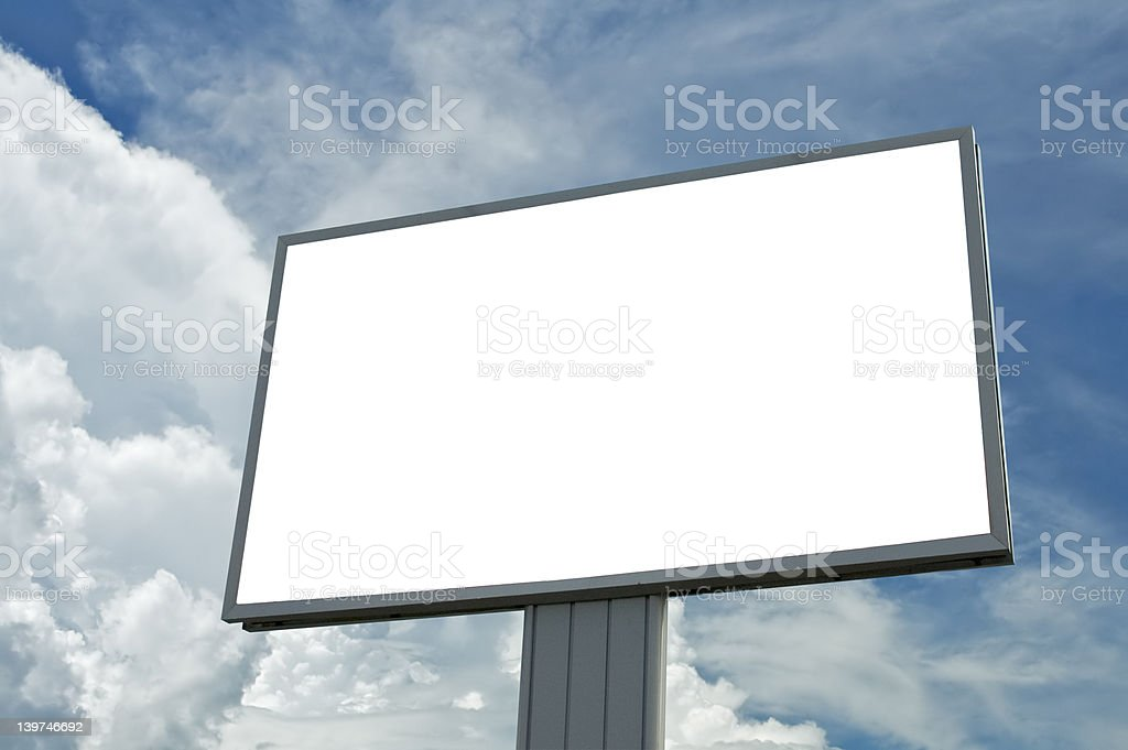 blank billboard over blue cloudy sky, just add your text royalty-free stock photo