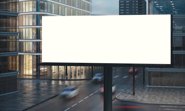 blank billboard blank billboard for outdoor advertising 3d rendering billboard stock pictures, royalty-free photos & images