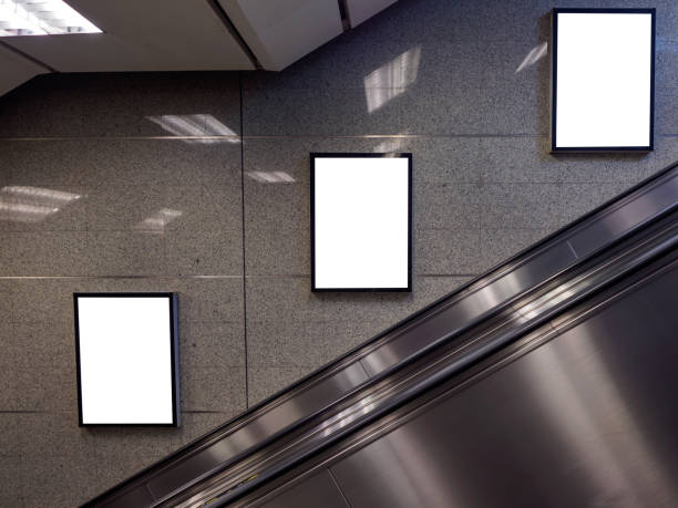 blank billboard - escalator foto e immagini stock