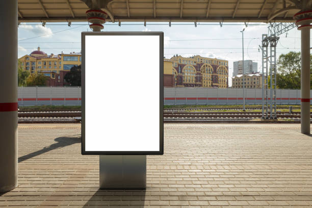 Blank billboard poster stand mock up on platform of raillway station Blank billboard poster stand mock up on platform of railway station. 3d illustration. railroad station platform stock pictures, royalty-free photos & images