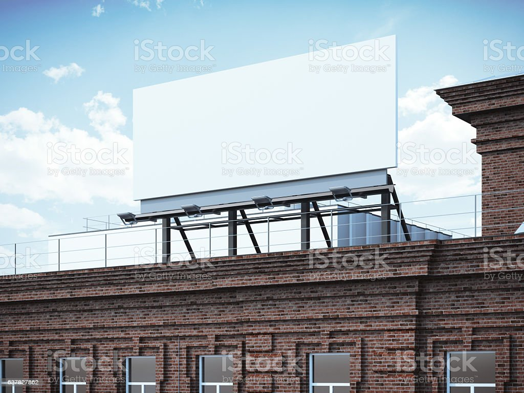 Blank billboard standing on brick building. 3d rendering stock photo