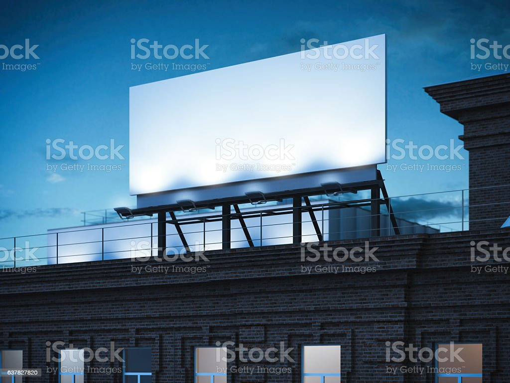 Blank billboard standing on classic brick building. 3d rendering stock photo