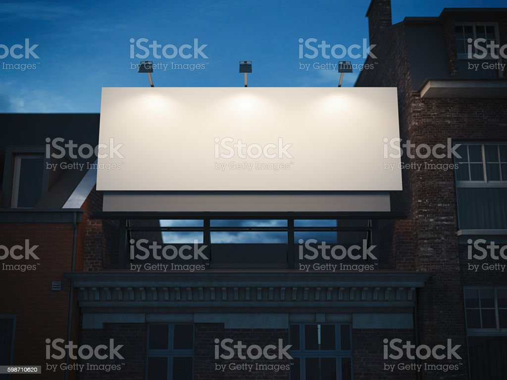 Blank billboard standing on classic building. 3d rendering stock photo