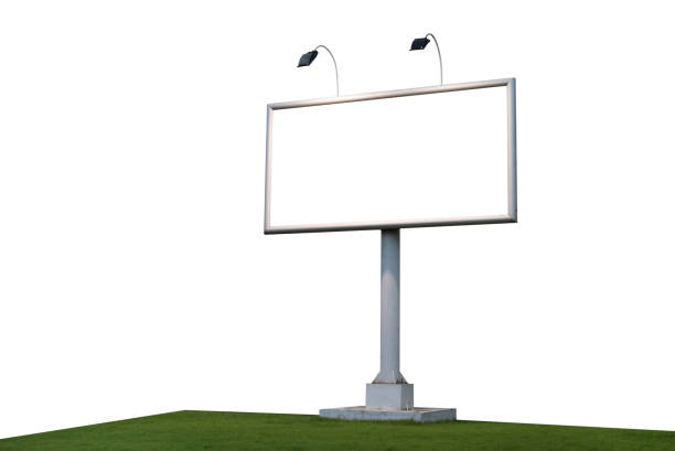 Blank billboard template for advertising isolated on white background stock photo