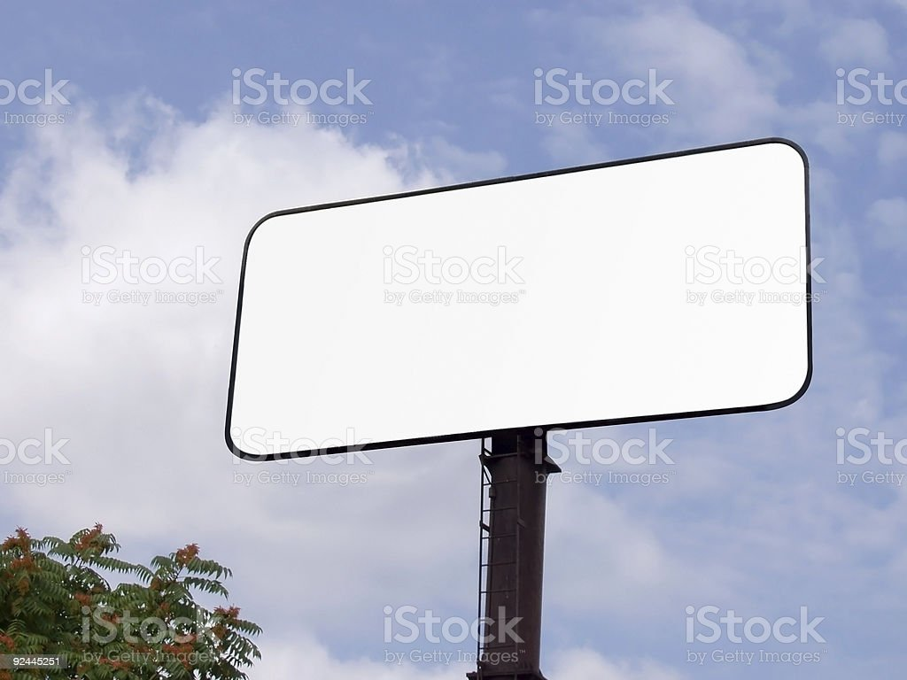 Blank Billboard with blue sky and clouds stock photo