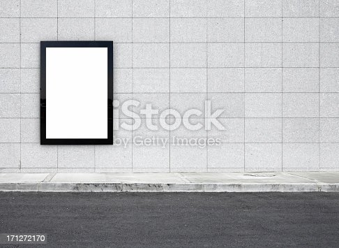 Blank billboard on a bus stop-clipping path of billboard included