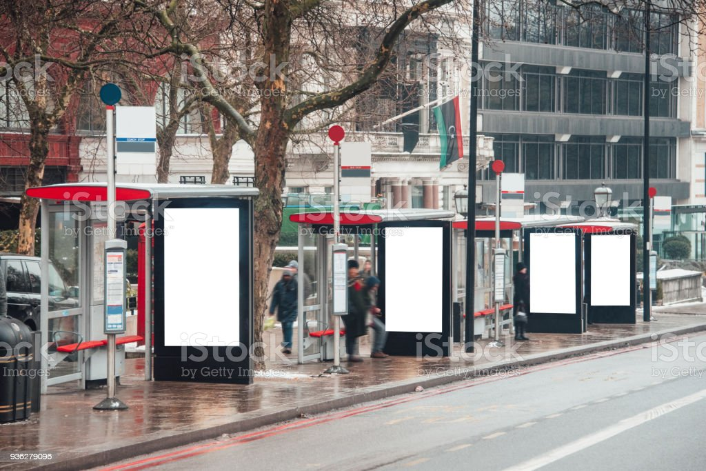 Blank billboards at bus stops stock photo