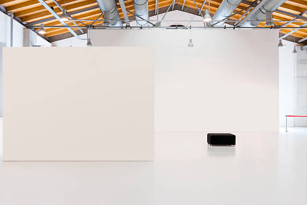 Blank billboards in exhibition centre stock photo