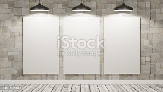 istock Blank Billboards in the Room Illuminated by Lamps 1161505490