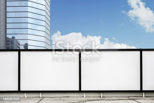 Blank billboards on street-Clipping path of billboards included