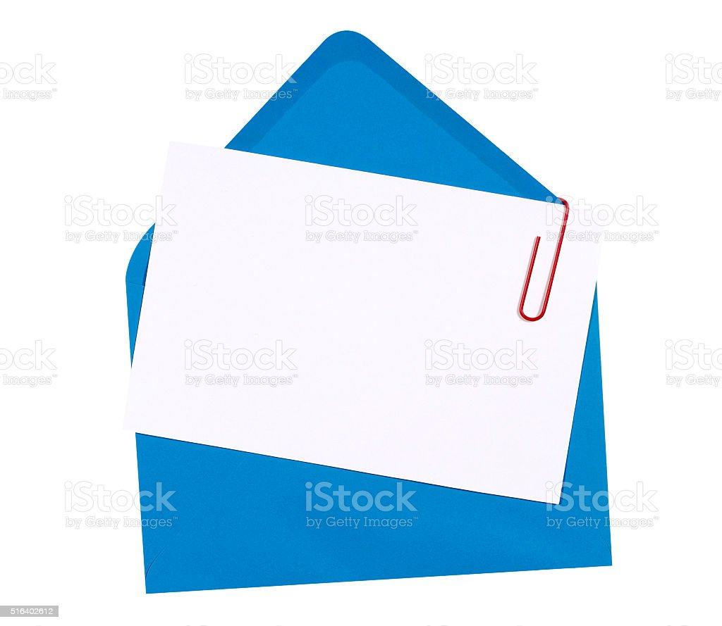 Blank Birthday Invitation Card With Blue Envelope Stock Photo & More ...