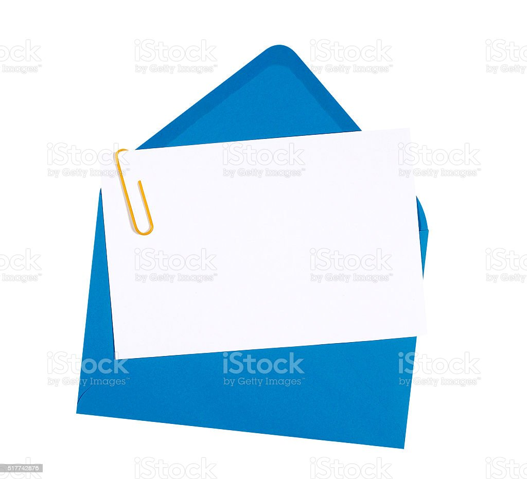 Blank birthday invitation card with blue envelope stock photo