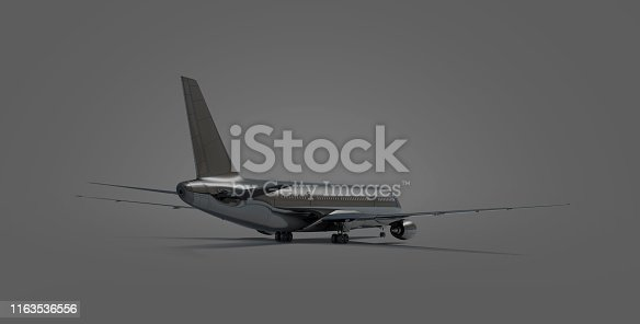 istock Blank black airplane mock up stand, backside view isolated, 1163536556