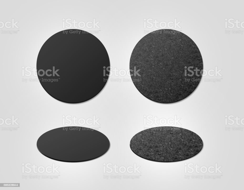 Blank black and cork textured beer coasters mockup, clipping path stock photo