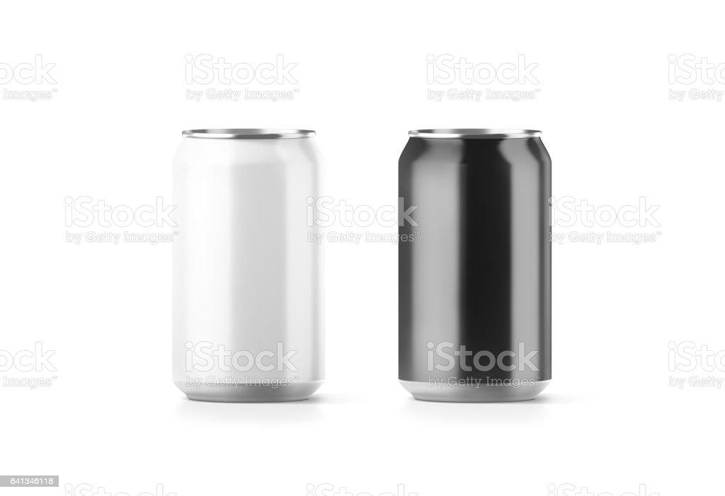 Blank black and white aluminium soda can mockup stock photo