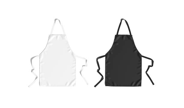 Blank black and white apron with strap mockup, top view stock photo