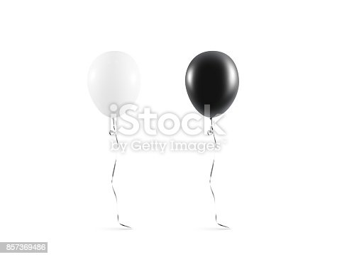 istock Blank black and white balloon mock up isolated 857369486