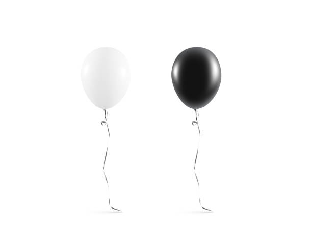 Blank black and white balloon mock up isolated stock photo