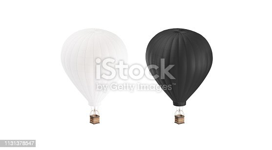 istock Blank black and white balloon with hot air mockup set, 1131378547