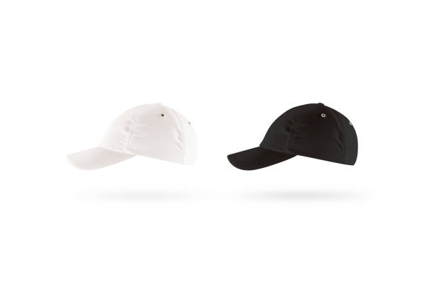 Blank black and white baseball cap mockup set, profile side view stock photo